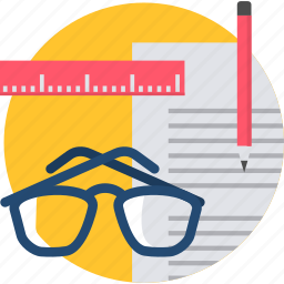 document, documents, page, spectacles, spects, write, writing icon