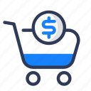 cart, cash, dollar, money, shady, shop icon