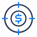 business, cash, currency, finance, money, shady, target icon