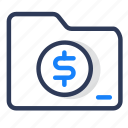 business, cash, file, folder, marketing, money, shady icon