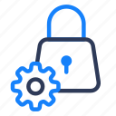 gear, lock, secure, setting, shady icon