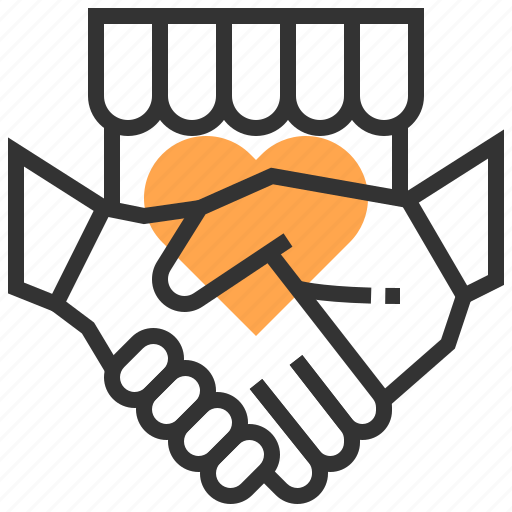 advertising, commerce, heart, marketing, payment, shake hand, strategy icon