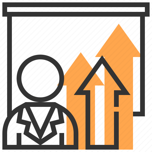 advertising, arrow, commerce, growth, marketing, present, strategy icon