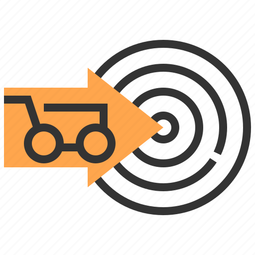 advertising, cart, commerce, marketing, payment, strategy, target icon