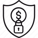 money, padlock, payment, protection, safety, security, shield icon