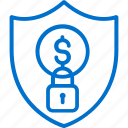 finance, money, padlock, payment, protection, security, shield icon