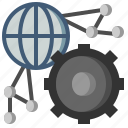 cogwheels, configure, development, globe, seo, settings, web icon