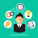 analyzing, concept, effective, idea, man, management, strategy icon