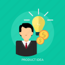 business, idea, man, management, market, thinking, version icon