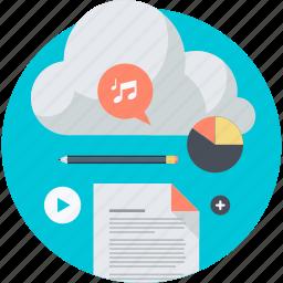app, cloud, computing, flat design, internet, round, service icon