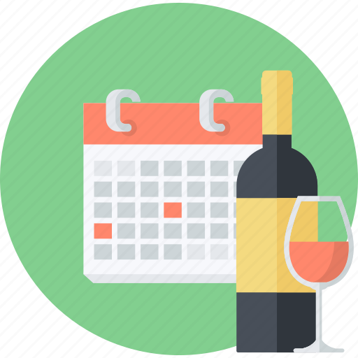 celebration, events, flat design, news, round, schedule icon