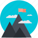 discover, explore, flat design, mission, mountain, nature, success icon