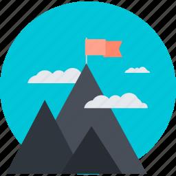 discover, explore, flat design, mission, mountain, nature, success icon