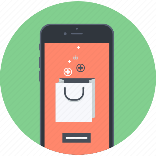 flat design, m-commerce, mobile, online, purchasing, sale, shopping icon