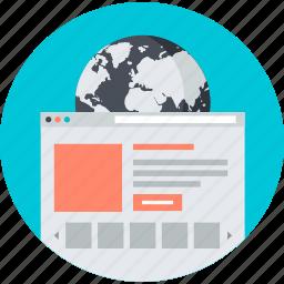 development, flat design, internet, online, round, web, website icon