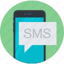 advertising, communication, flat design, marketing, mobile, round, sms icon