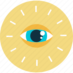 business, eye, flat design, marketing, round, vision icon
