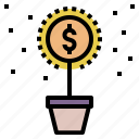 business, flower, growth, invest, investment, money, scatter icon