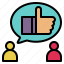 advise, comment, good, introduce, like, recommendation, suggest icon