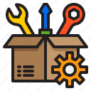 box, gear, package, setting, tools