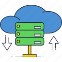cloud, database, download, internet, servers, storage, upload icon