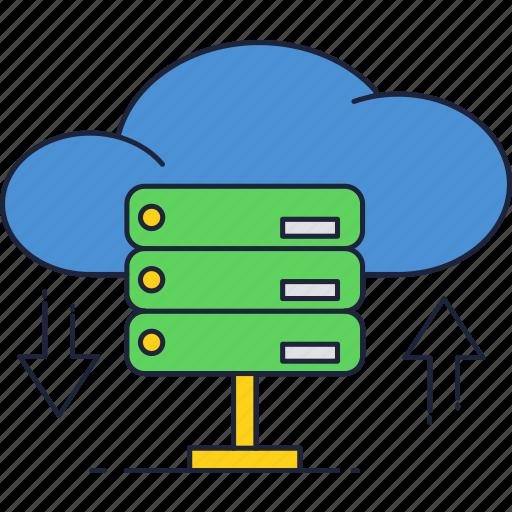 cloud, database, download, internet, servers, storage, upload icon