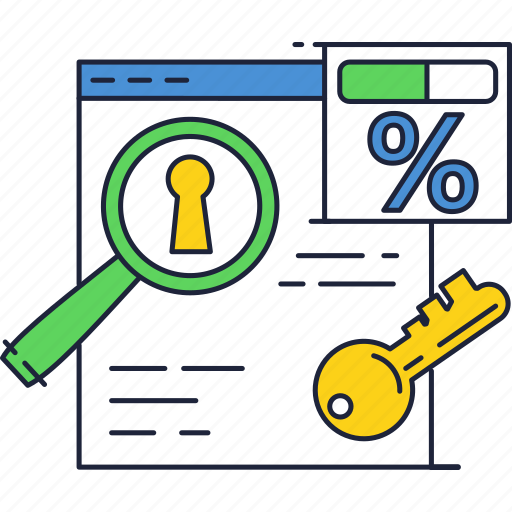 access, document, key, lock, percentage, secure, sign icon