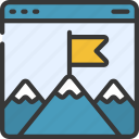 milestones, mountains, flag, website
