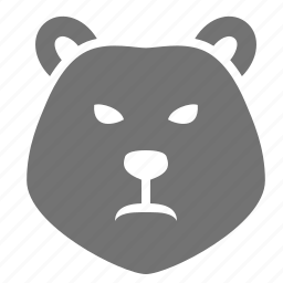 animal, bear, business, head, market, receding, recession icon