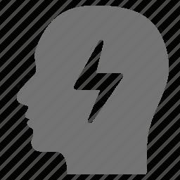 brain, flash, head, idea, lightning, storm, thought icon