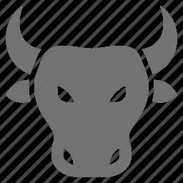 animal, bull, business, head, market, rising icon
