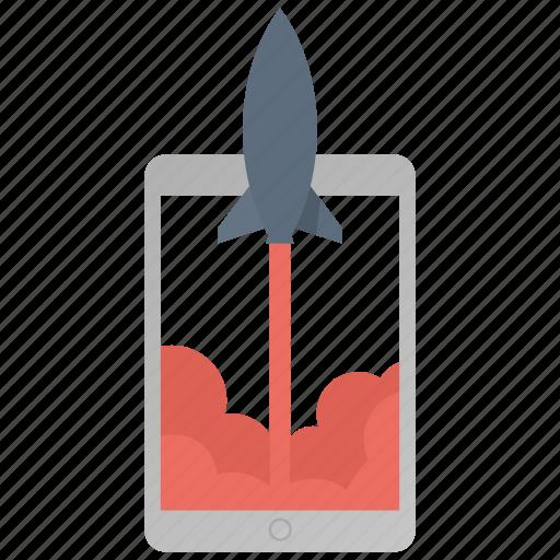 ecommerce, ipad, launch, marketing, rocket, start, tablet icon
