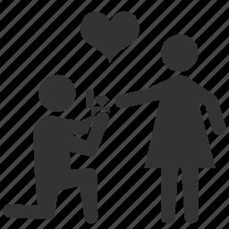 couple, flirt, love, proposal, propose, valentine, wedding icon