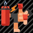 kick, martial arts, punching bag, training icon