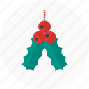 christmas, decoration, holiday, leaves, mistletoe, nature icon