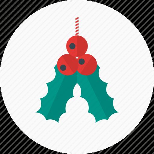 christmas, decoration, holiday, leaves, mistletoe, nature icon