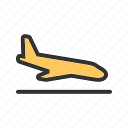 aircraft, airplane, airport, flight, plane, runway, travel icon