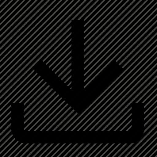arrow, down, download, drop, file, import, internet icon