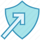 antivirus, arrow, protect, security, shape, shield icon