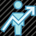 analytics, bar, chart, graph, up arrow, user