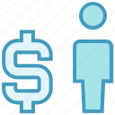 dollar, man, money, sign, user icon