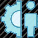 gear, male, person, settings, user, working