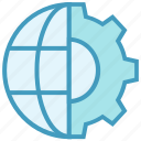cogwheel, gear, globe, internet, setting, world