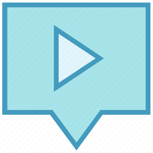 chat, digital, media, message, multimedia, play icon