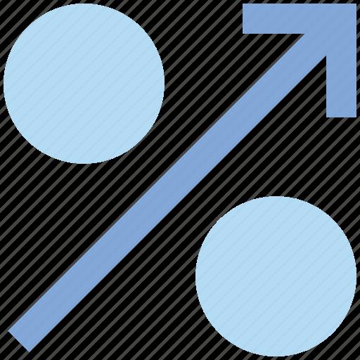arrow, discount, interest, percent, percentage, sales, sign icon