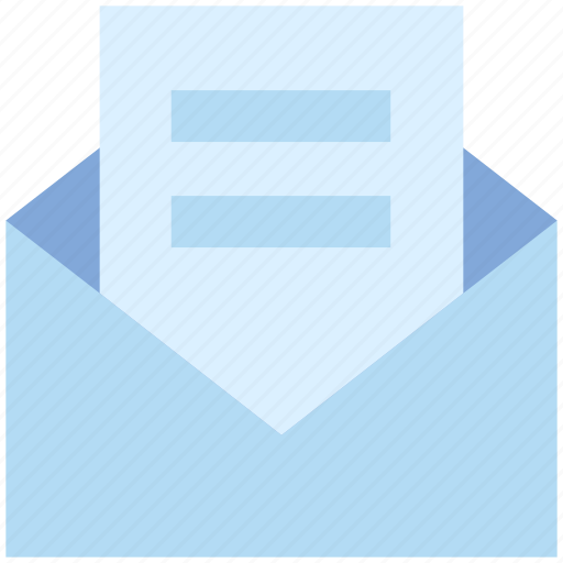 envelope, letter, mail, open envelope, paper, post, read icon