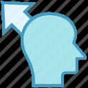 arrow, head, human head, mind, thinking, up arrow