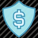 antivirus, dollar, protect, safe money, security, shape, shield icon