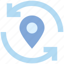 location, map, navigation, pin, point, refresh, sync