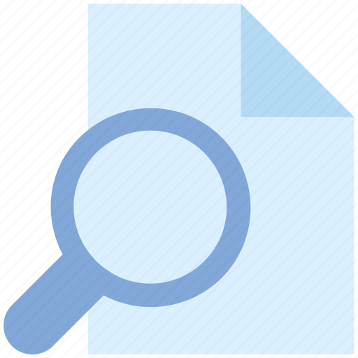 file, file scanning, magnifier, paper, search, search file, search page icon